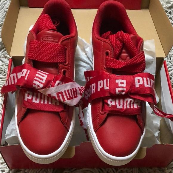 puma basket heart de red